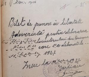 Bilete de punere în libertate a sătenilor din Nadăş, 1926.