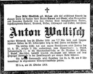 Anton Wallisch - anuntul de deces